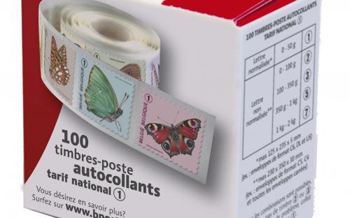 6 oktober: Vlinders van M.Meersman, Doos met rolzegels (Frans)