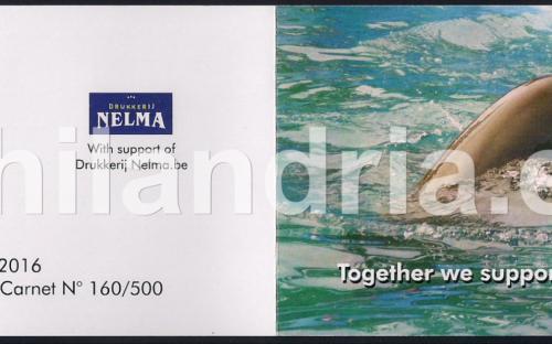 14 mei: BE-1: Dolfijn (postzegelboekje - kaft, voor- en achterkant)
